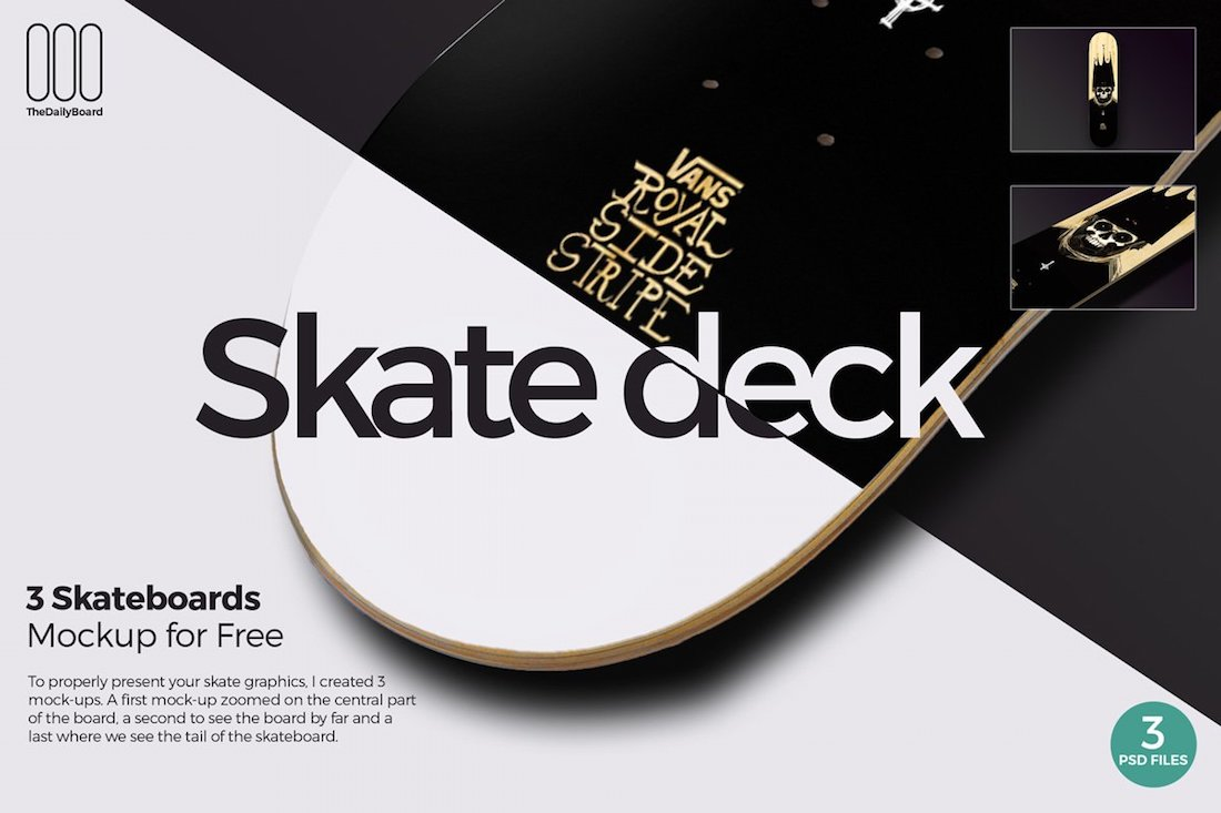 3 skateboards mockups