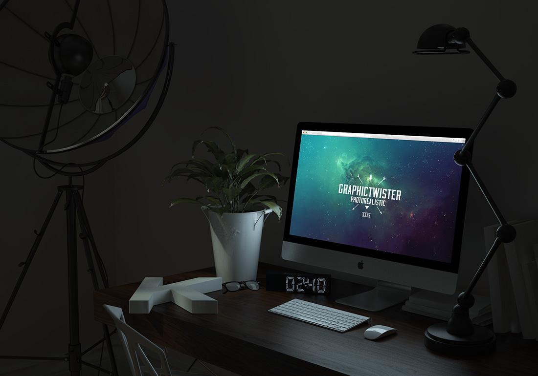 Free Glowing iMac Mockup PSD