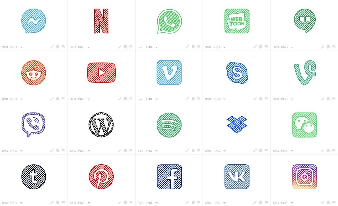 32 social media icons svg