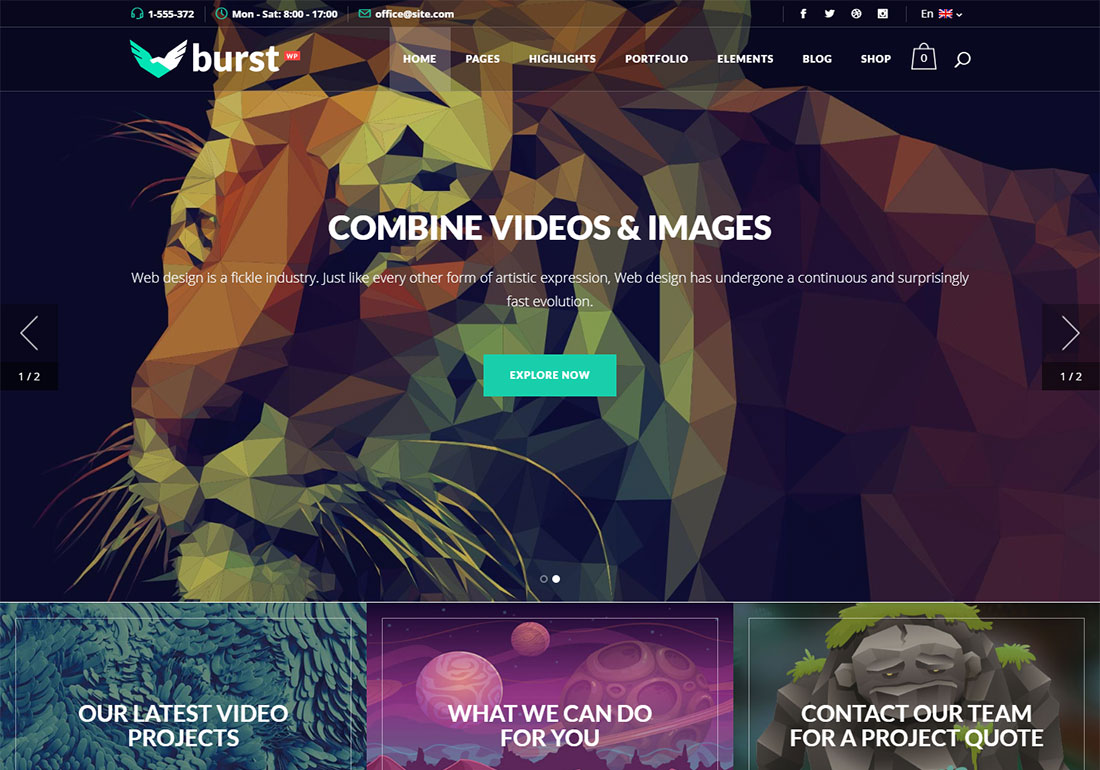 Burst WordPress themes video background