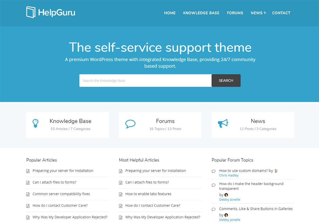 HelpGuru WordPress wiki theme