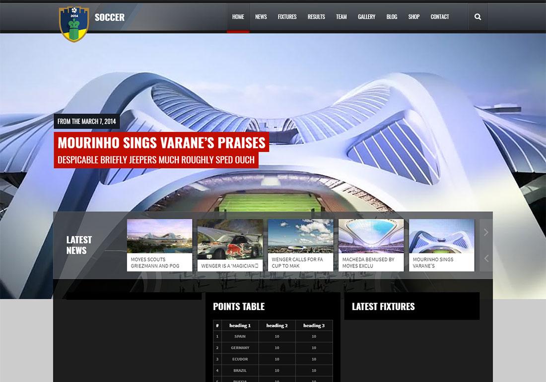 Soccer Club baseball WordPress theme