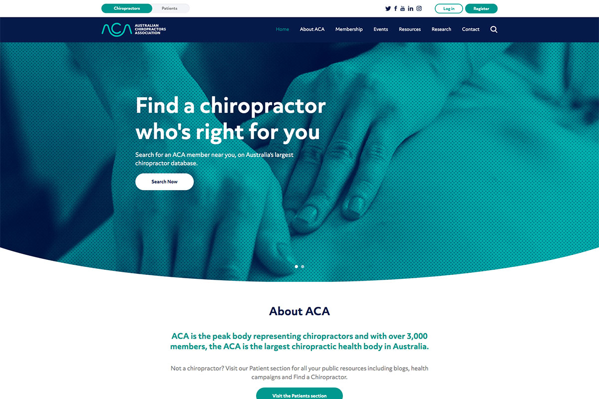 Australian Chiropractors Association website design