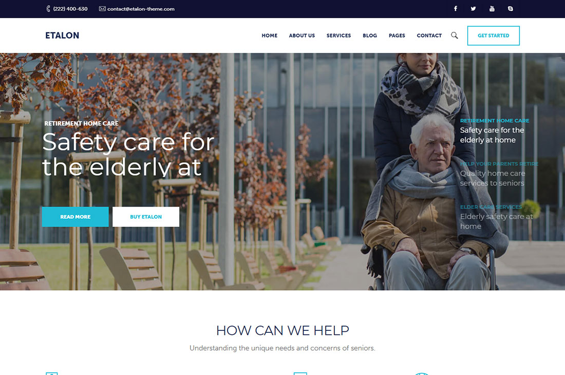 etalon elderly care wordpress themes