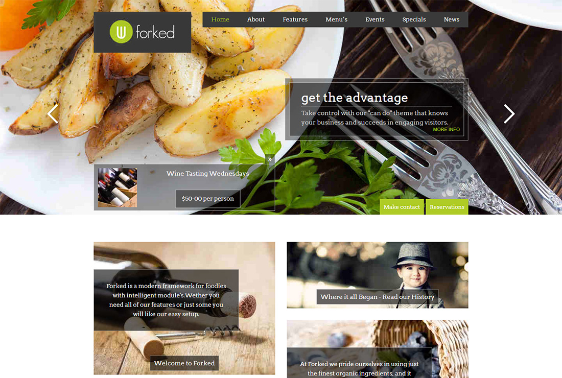 Forked Food Truck WordPress Theme