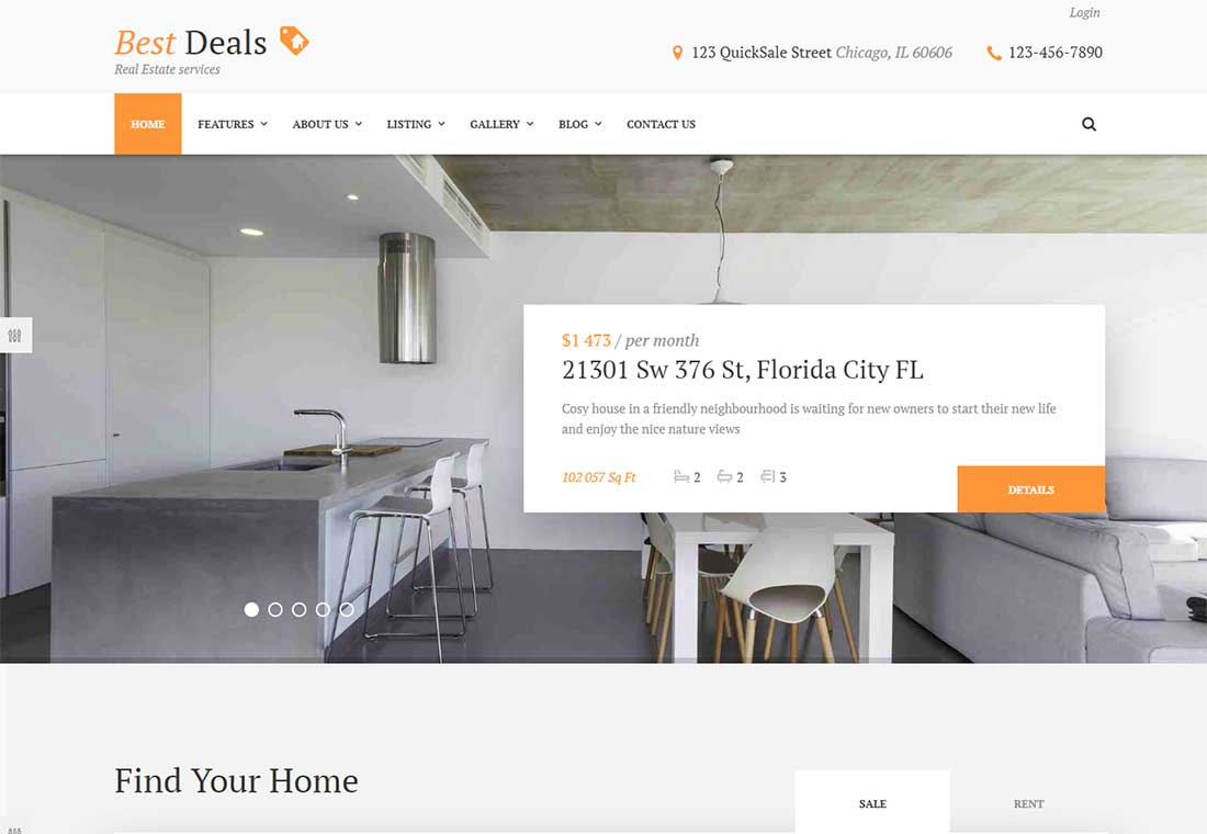 Best Deals - Property rental WordPress theme