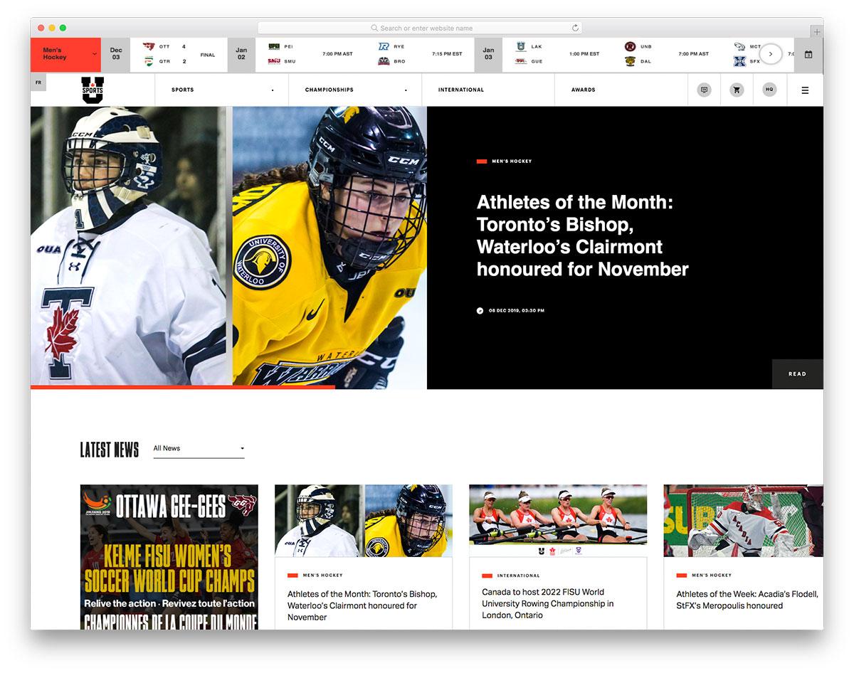 USports news site