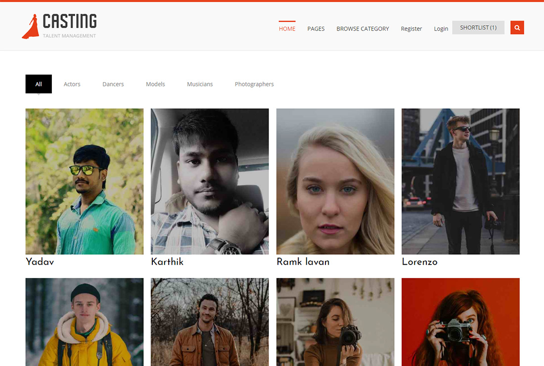 Casting WordPress themes for actors