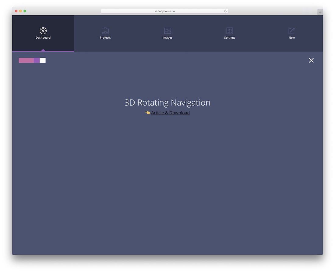 3d rotating navigation