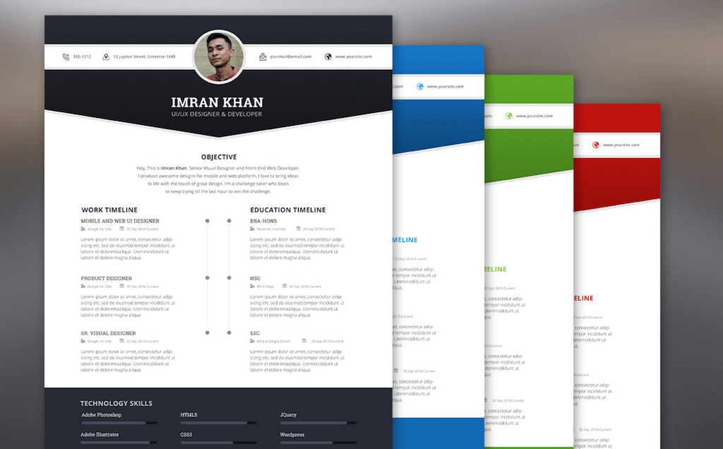 Superior 4 Colors Resume Template By Imran Khan Pertaining To Free Resume Design Templates