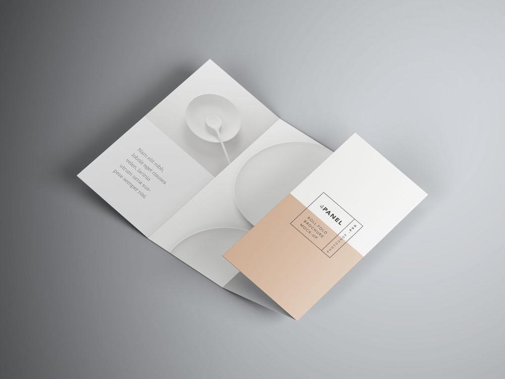 4-panel roll fold brochure mockups