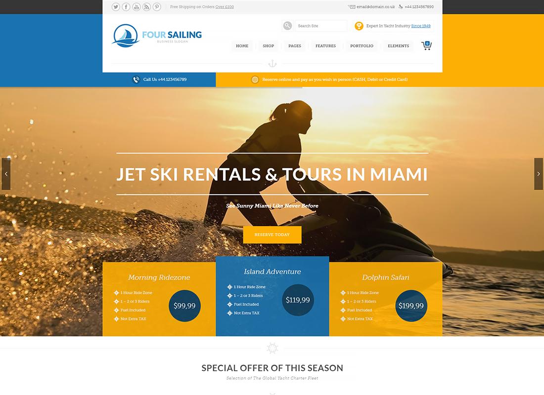 456 Sailing | Sport Shop & Yacht / Transport / Travel WordPress Theme