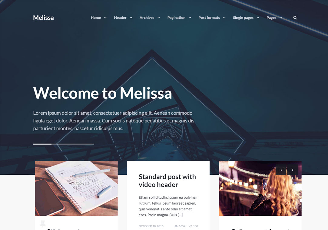 Melissa WordPress themes video background