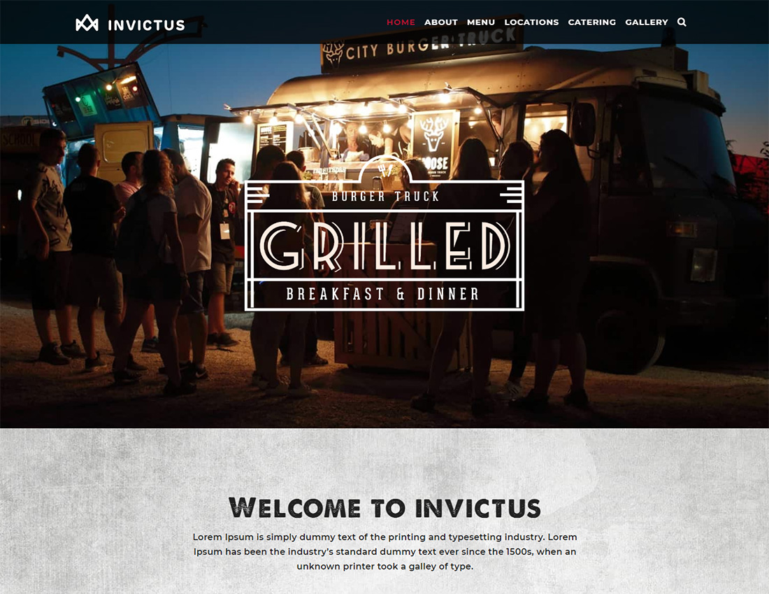 Invictus Food Truck WordPress Theme