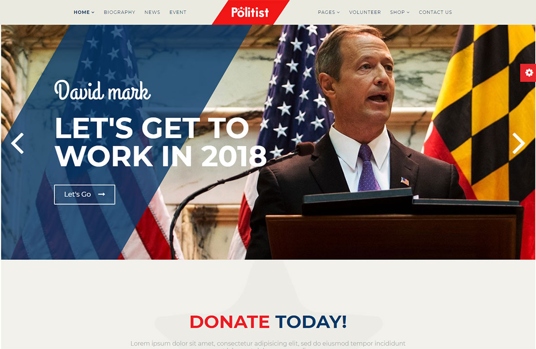 political candidate government WordPress theme
