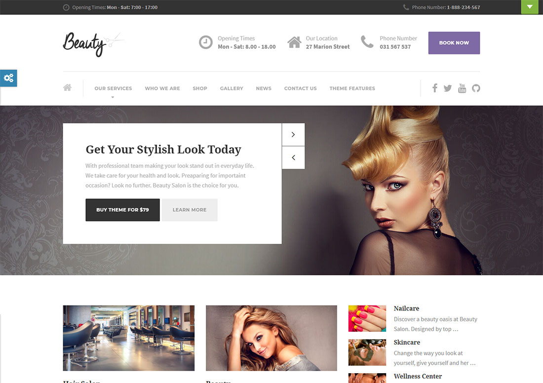 beauty makeup artist wordpress theme