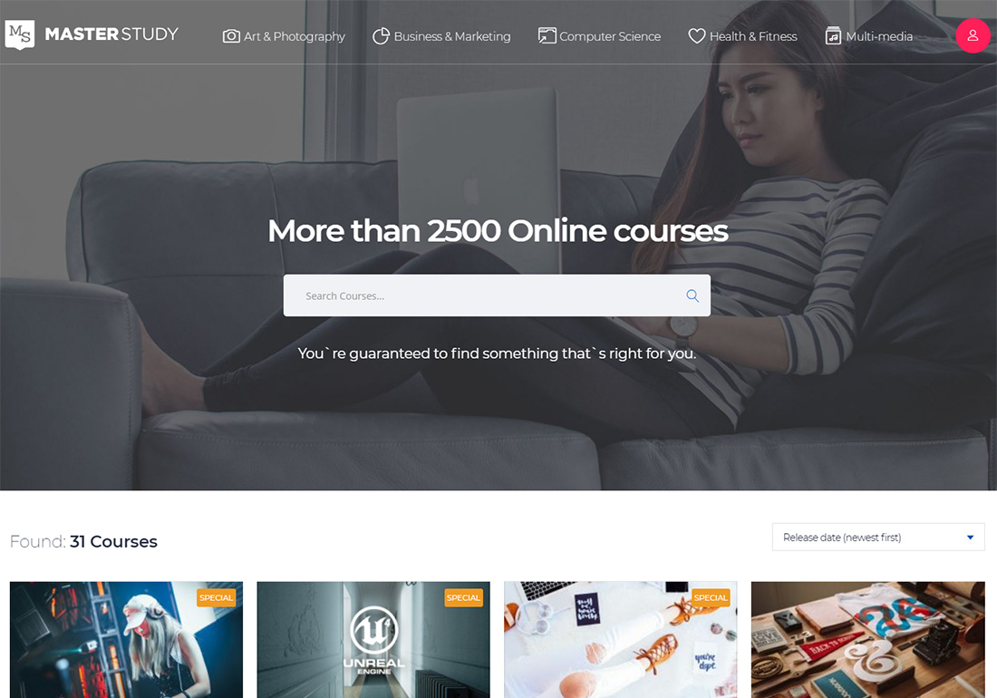 Masterstudy Education online course WordPress theme