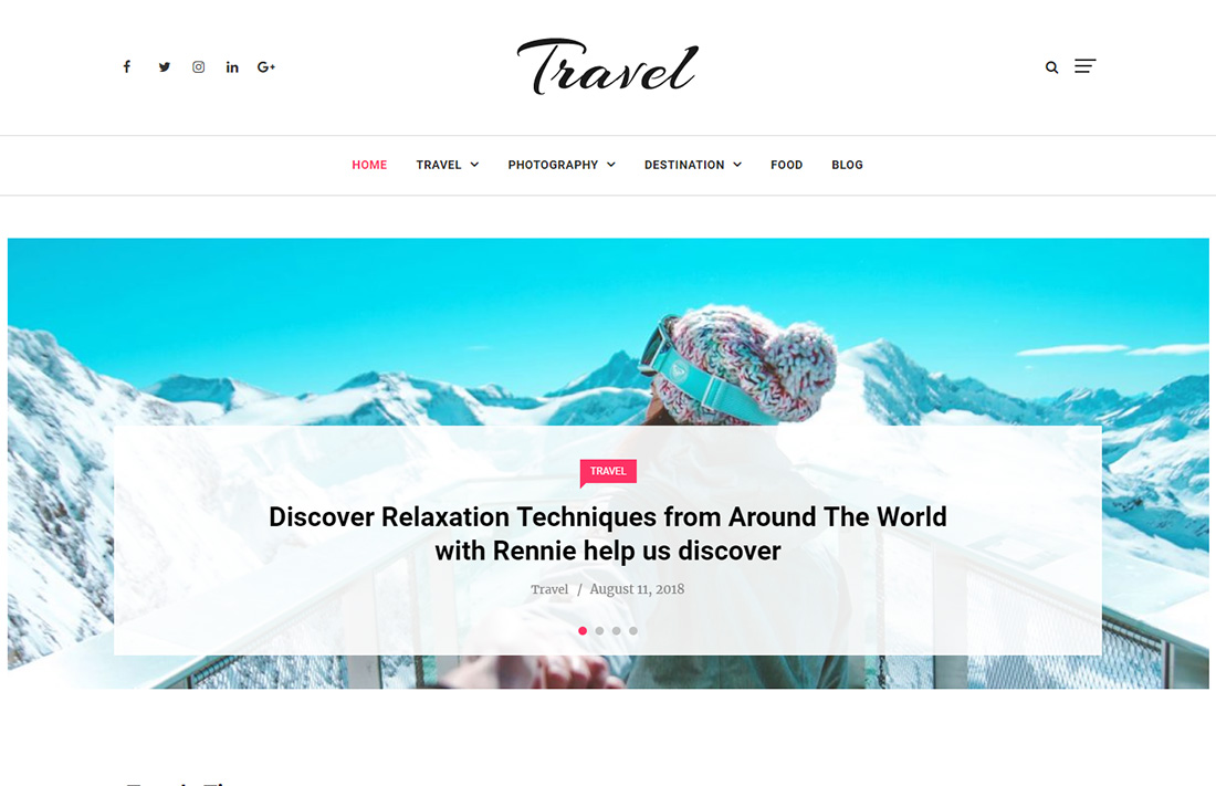 independent travel magazine theme
