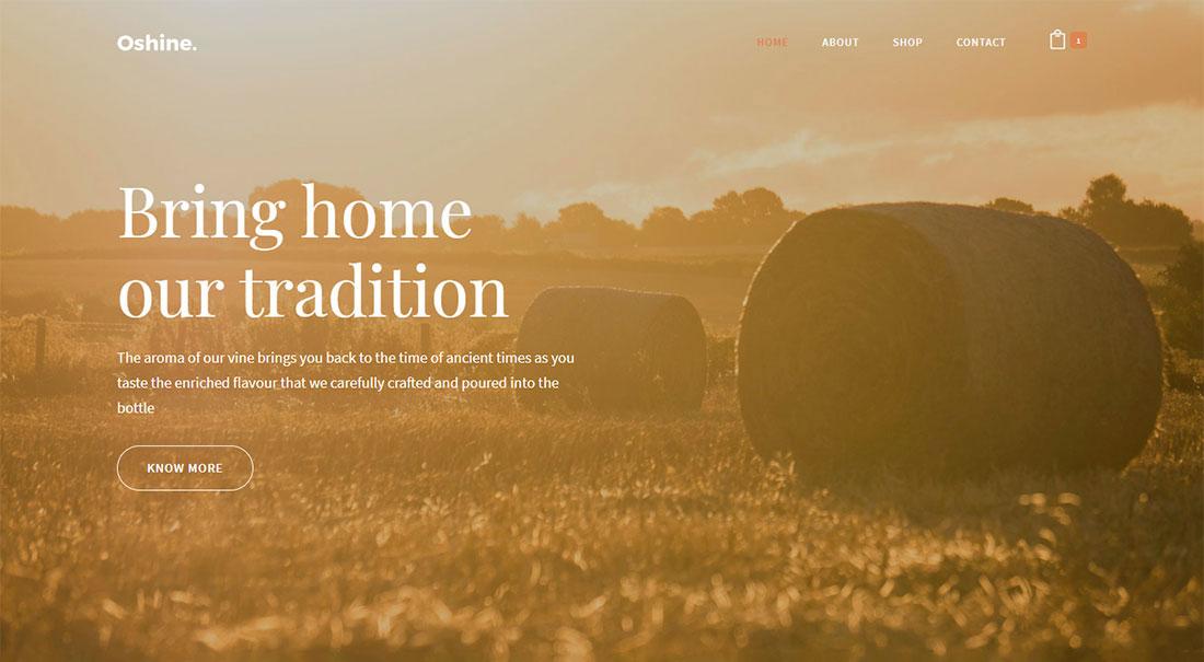 oshine wine shop WordPress theme