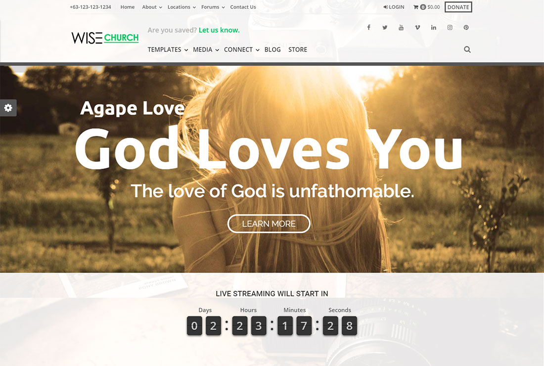 Wise Church WordPress Live Streaming Theme