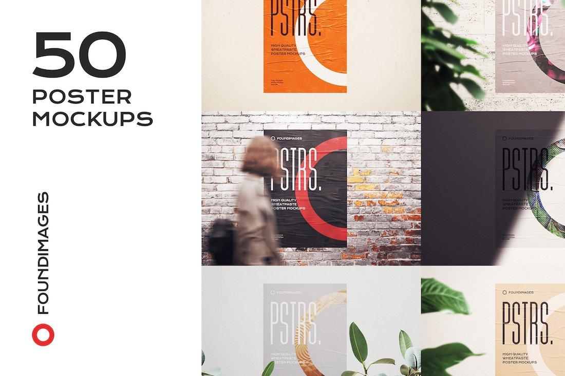 50 poster mockups bundle glued paper