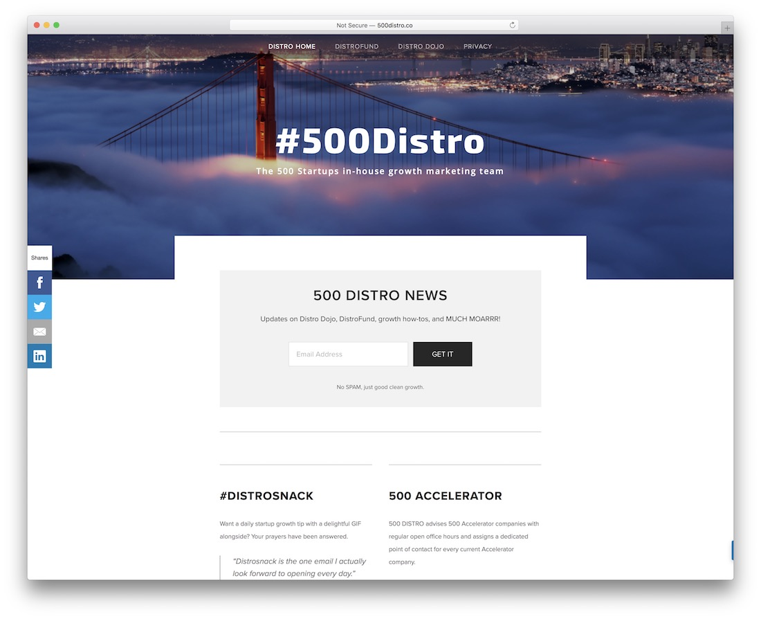 500distro startup business newsletter