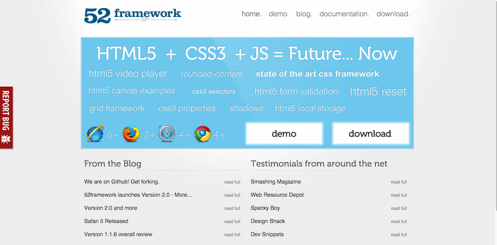 52framework The framework from the future HTML5 CSS3 and more