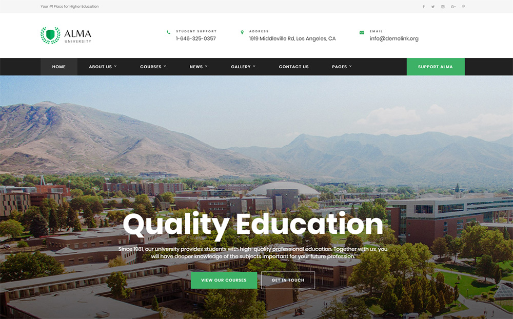 University Multipage HTML template