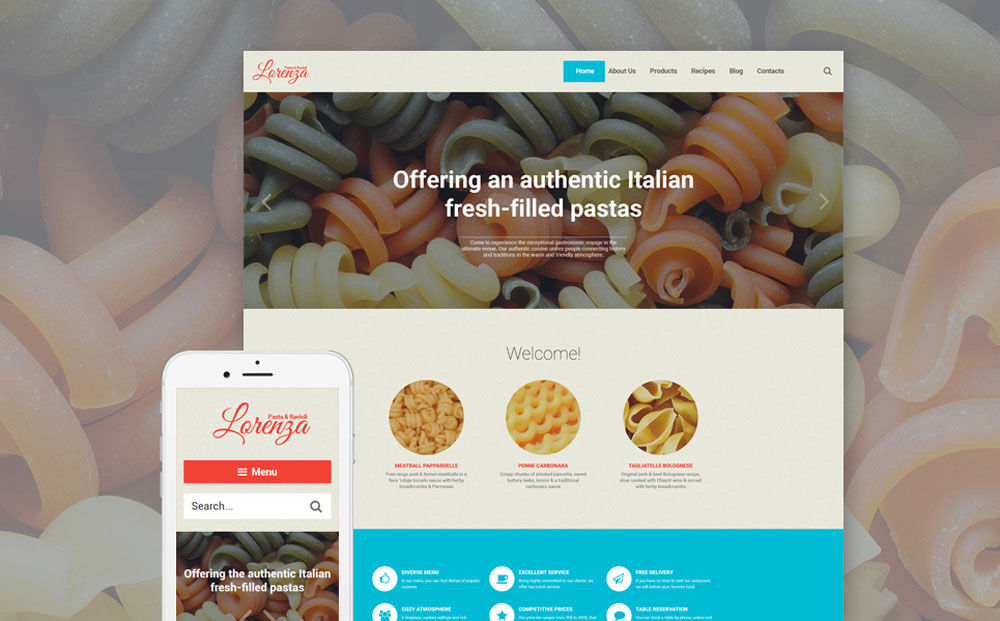 Pasta Restaurant Responsive WordPress Theme