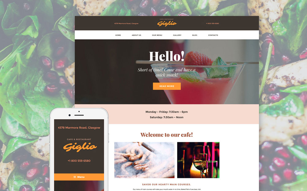 Cocktail Cafe WordPress Theme