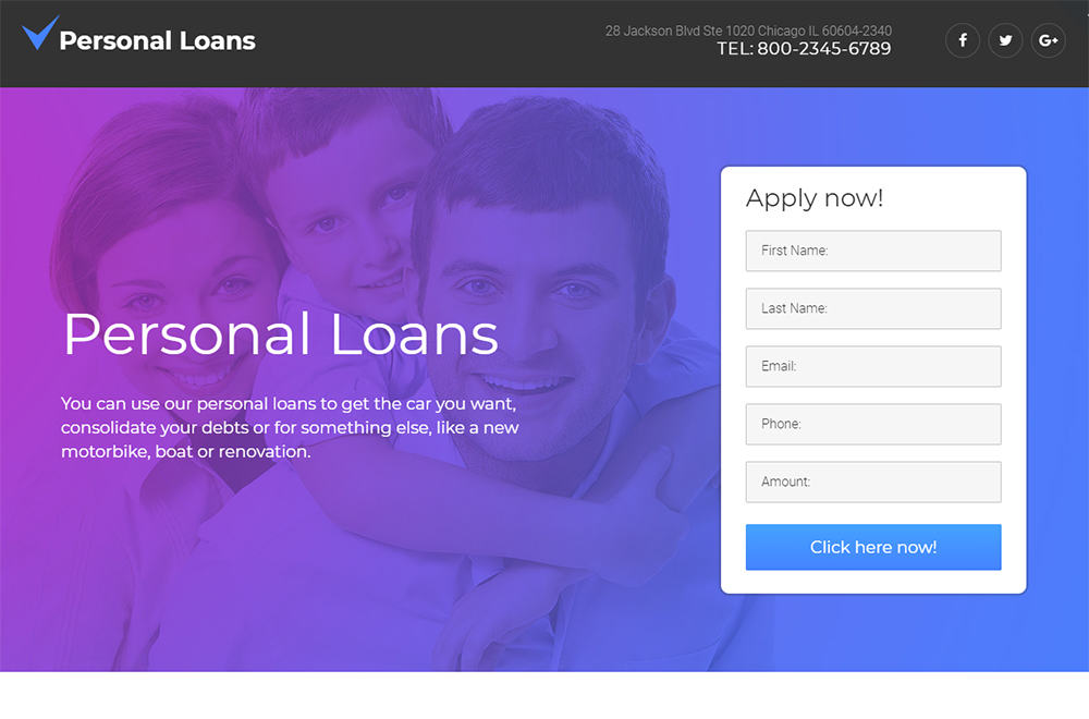Personal Loans Landing Page Template