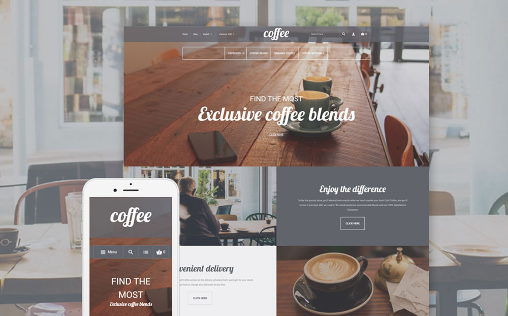 Coffee Time: Coffee Shop Resposnive Magento Design