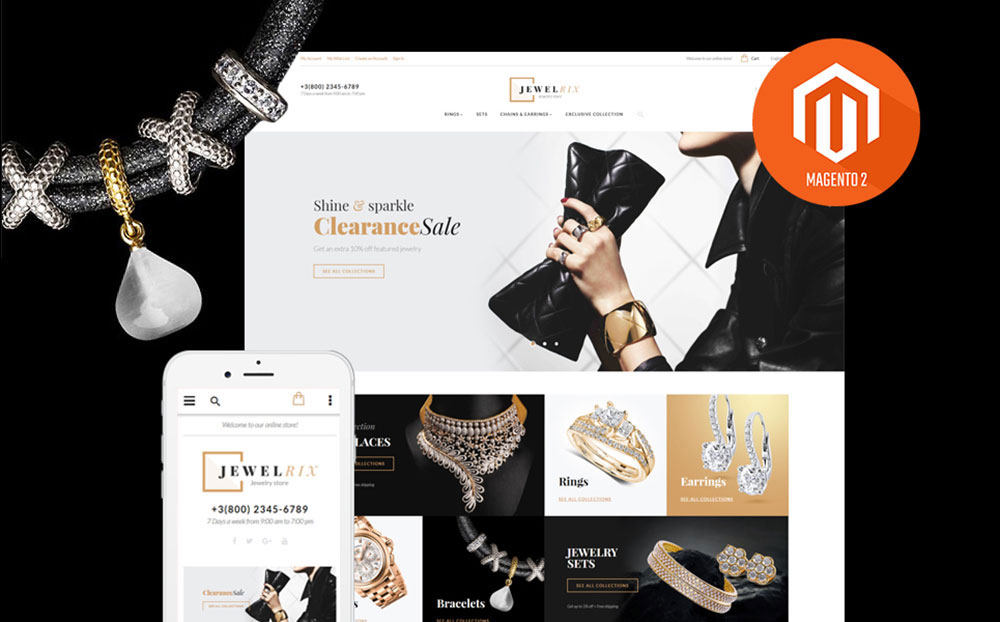 All Sparkling: Jewelry Store Magento Theme