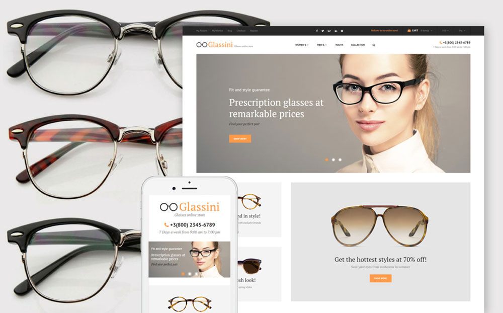 Glassini: Clean Glass Store Magento Website