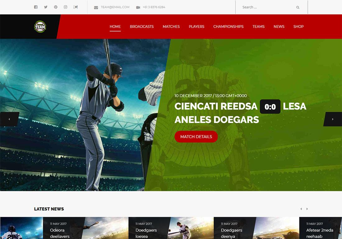 Team baseball WordPress theme