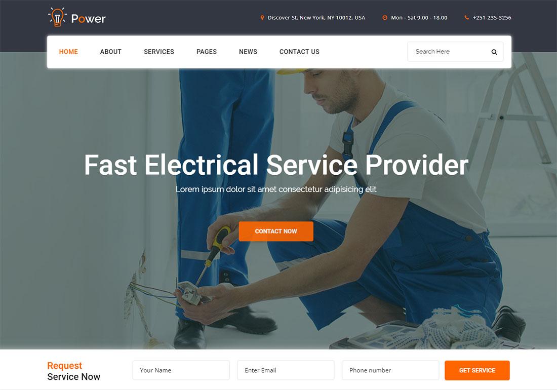 , 19 Best Electrician Website Templates (HTML & WordPress), Rojak WP
