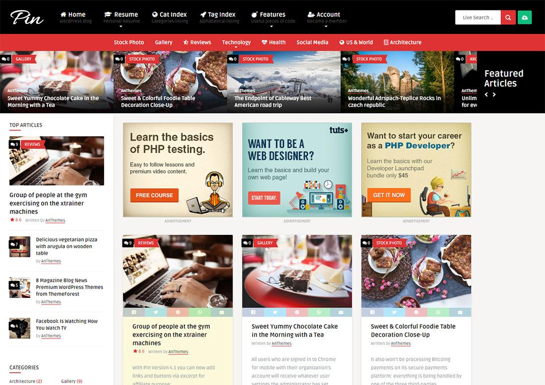 pin photo sharing WordPress theme