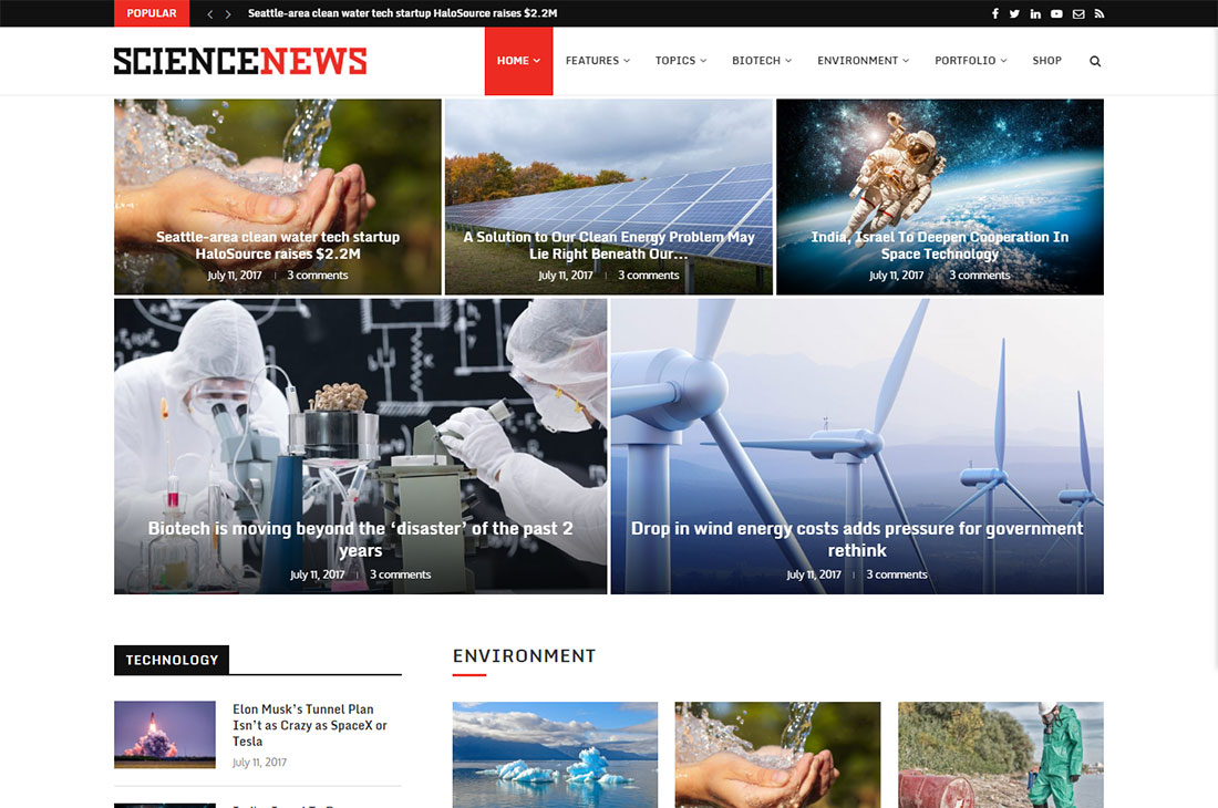 soledad science wordpress theme