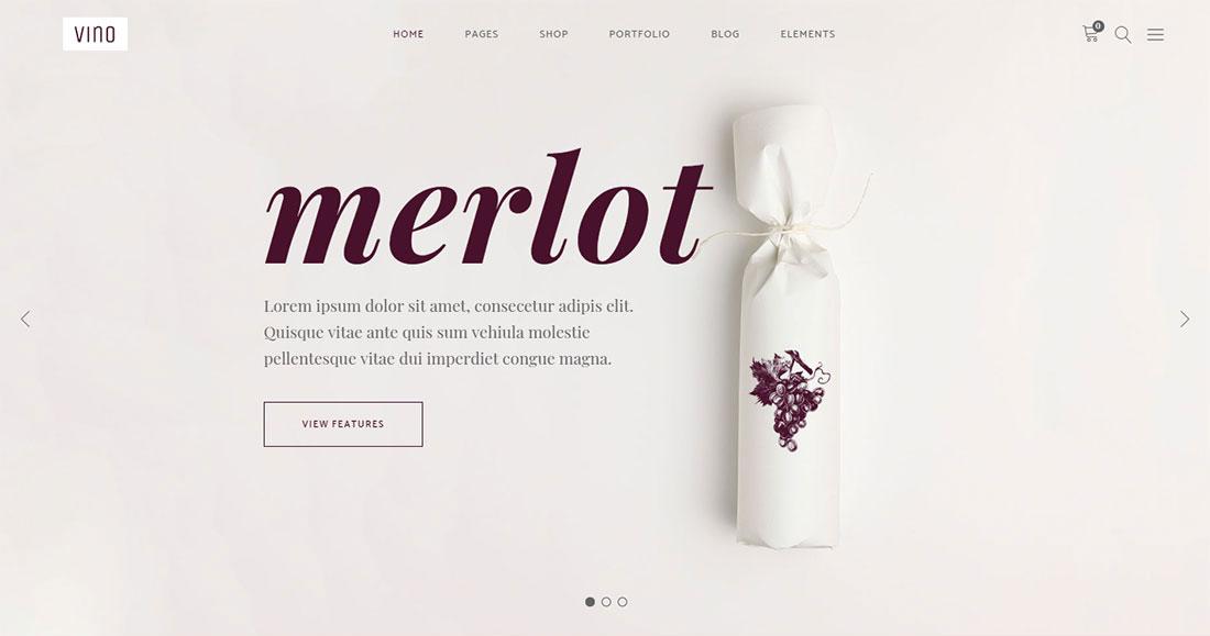 vino wine shop WordPress theme