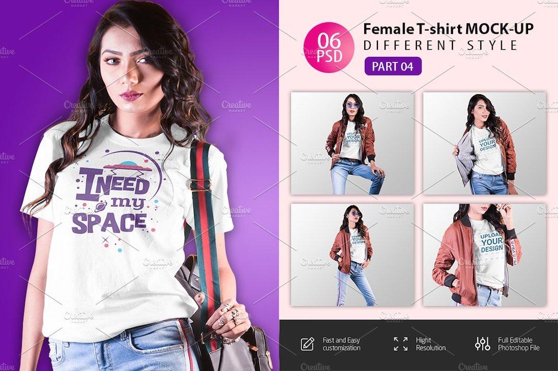 6 female t-shirt mockups