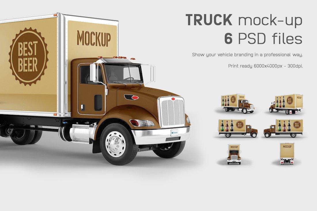 6 psd truck mockups