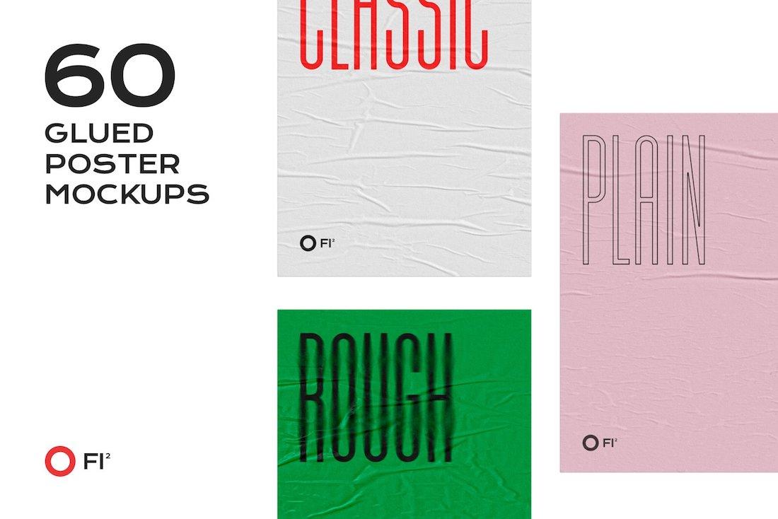 60 glued poster mockups bundle