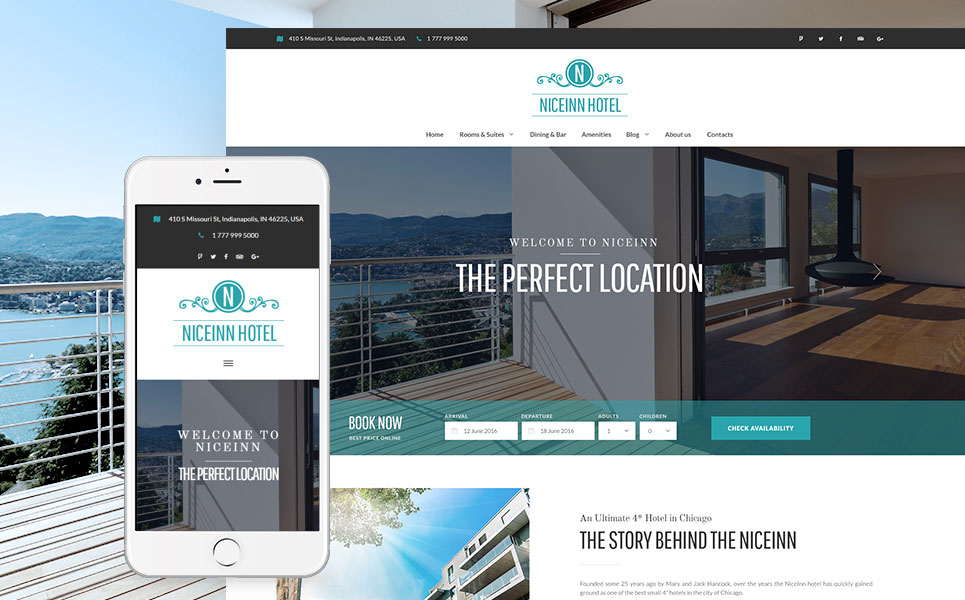 NiceInn Hotel - Small Hotel WordPress Theme
