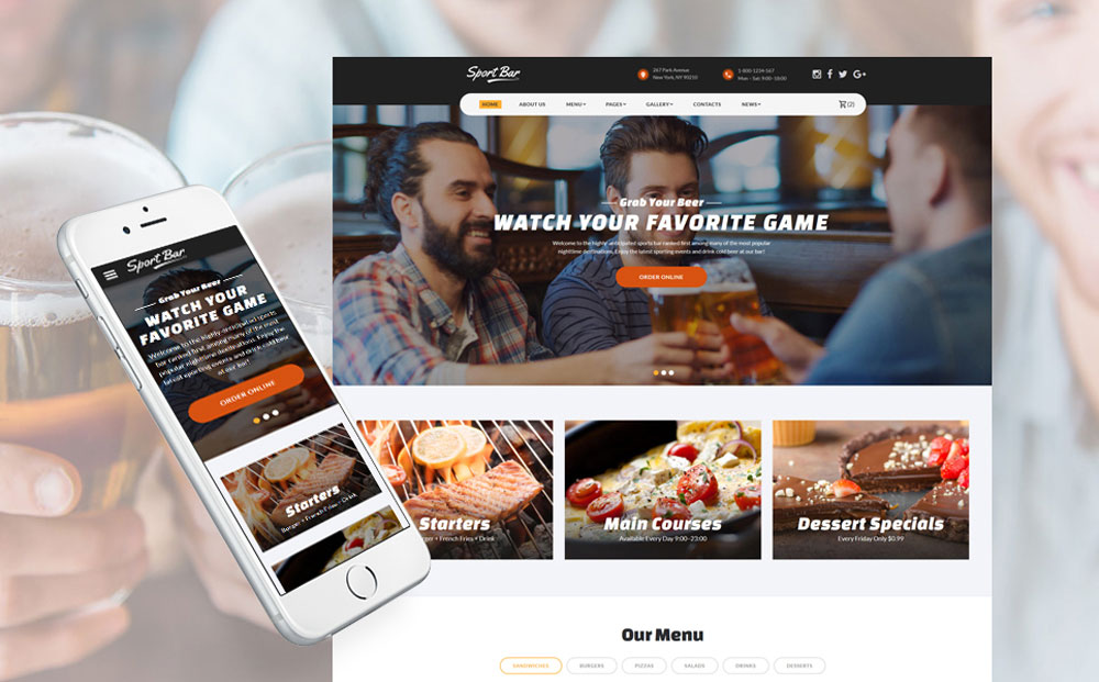 Multipage Website Template for Sports Bar & Restaurant