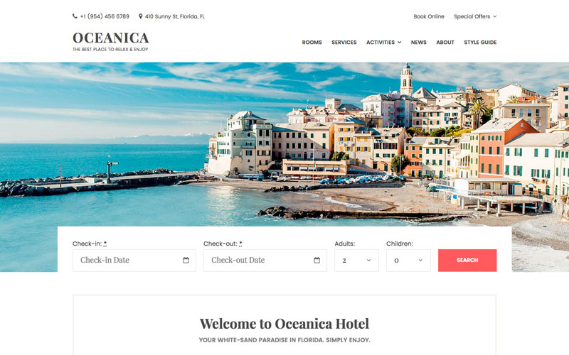 Oceanica - Hotel Reservation Services WordPress Theme