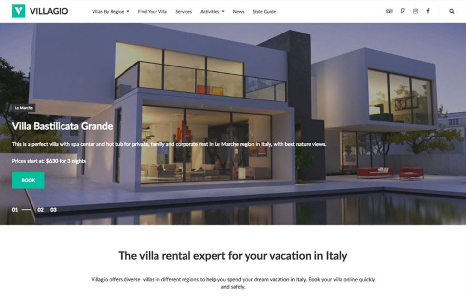 Villagio - Property Booking Services WordPress Theme