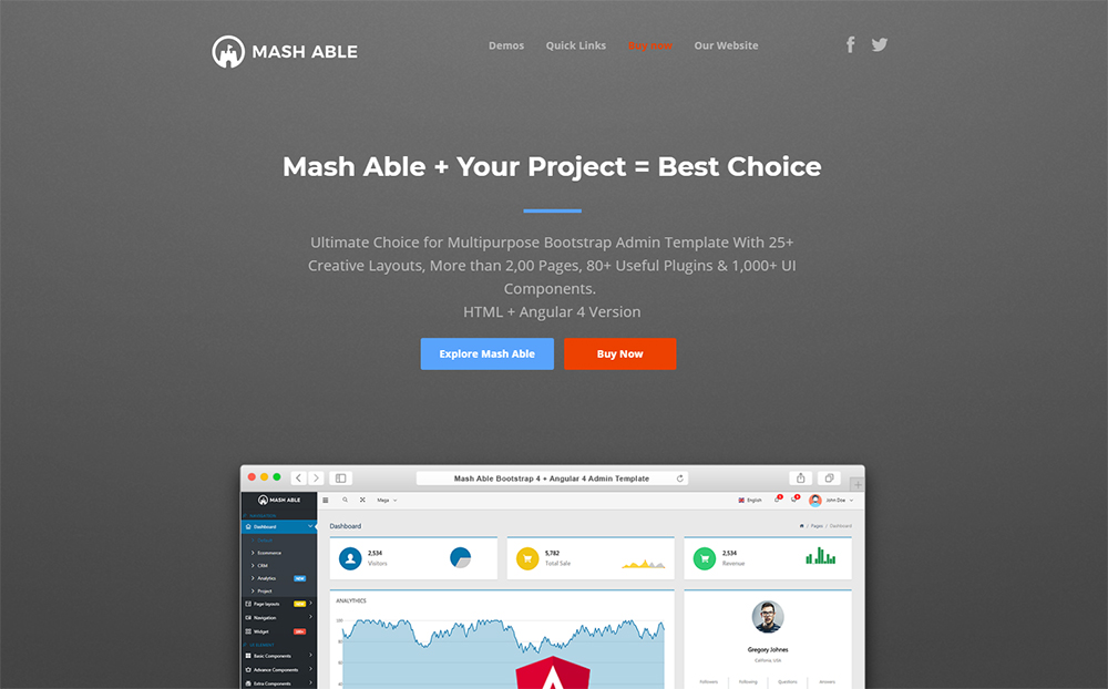 Mash Able Bootstrap 4 Admin Template