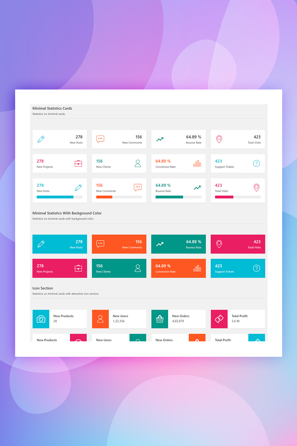 Advance Statistics Cards - Bootstrap 4 Admin Statistics Cards Layout UI Elements