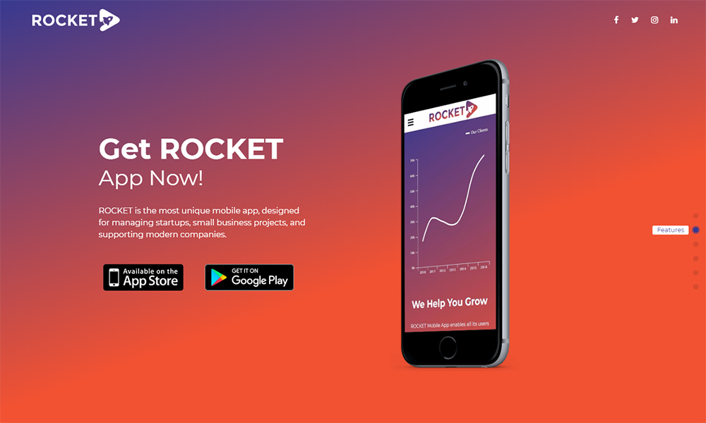 Rocket - Mobile App Landing Page WordPress Theme