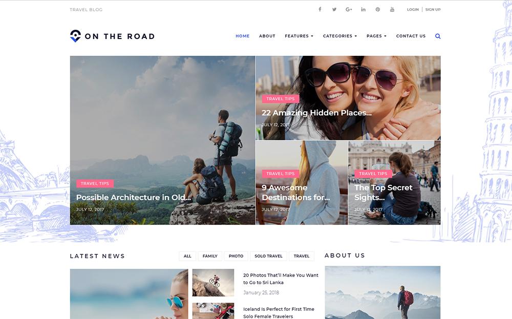 On The Road - Travel Blog WordPress Theme